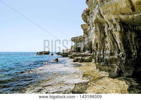 25 may 2016.Cape Greco. Views of the sea caves and cliffs of Cape Greco . Cyprus.