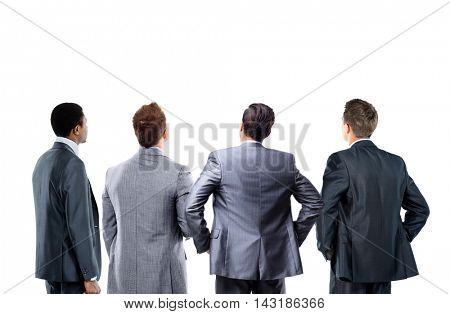 business people looking at a banner