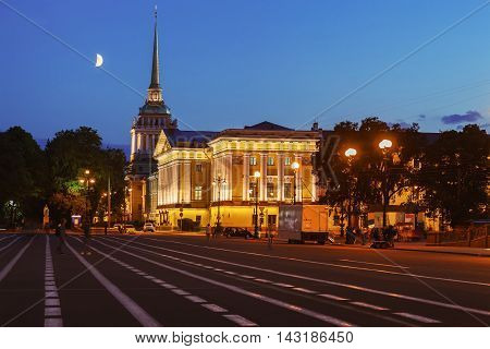 Admiralty building -one of the symbols of St. Petersburgn at night. View from the Palace Square