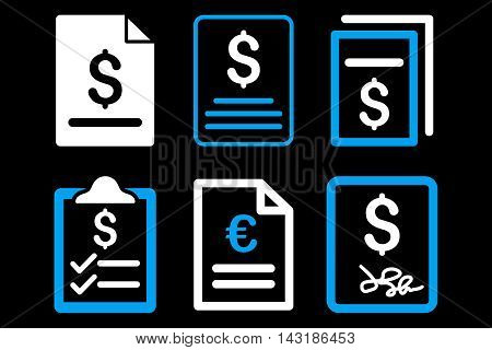 Invoice vector icons. Pictogram style is bicolor blue and white flat icons with rounded angles on a black background.