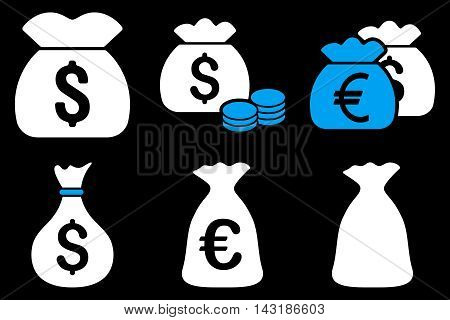 Money Bag vector icons. Pictogram style is bicolor blue and white flat icons with rounded angles on a black background.