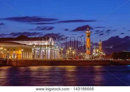 Spit of Vasilyevsky Island in Saint Petersburg at night Russia