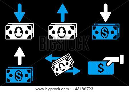 Pay Banknotes vector icons. Pictogram style is bicolor blue and white flat icons with rounded angles on a black background.