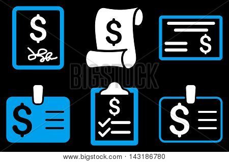 Payment Cheque vector icons. Pictogram style is bicolor blue and white flat icons with rounded angles on a black background.