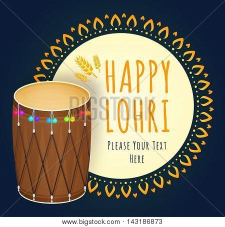 Happy Lohri celebration. Popular harvest India festival. Vector illustration of Punjabi Festival. Happy Lohri Festival