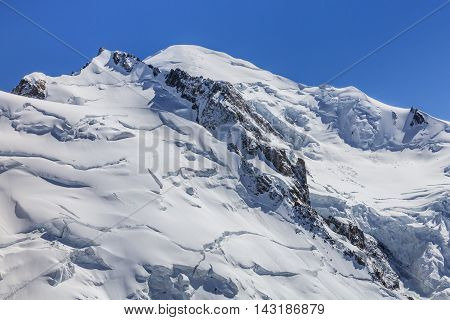 View of the Alps from Aiguille du Midi mountain in the Mont Blanc massif. France