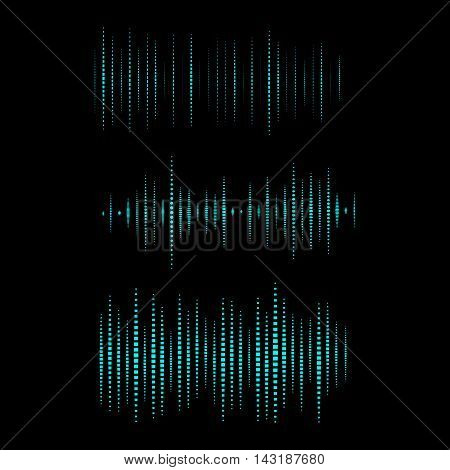 Collection of waveform. Vector illustration for club, radio, party, concerts or the audio technology advertising background. Easy to use.