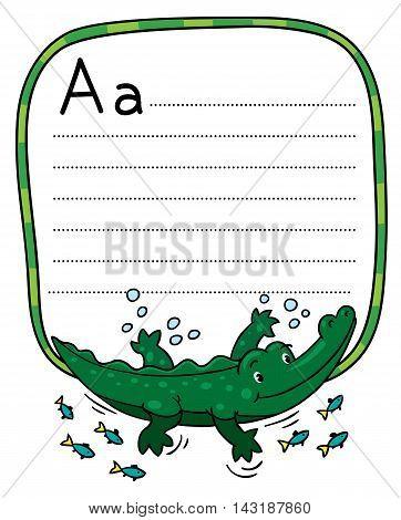 Little Crocodile Or Alligator, For Abc. Alphabet A