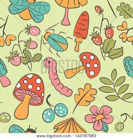 Vector seamless pattern with mushroom strawberry bug warm and leaf. Nature doodle background.
