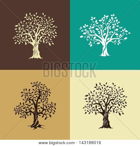Beautiful oak trees silhouette set isolated on color background. Modern vector web design sign.
