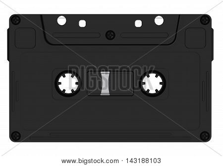 Black audio cassette lying on white surface. Isolated. 3D Illustration