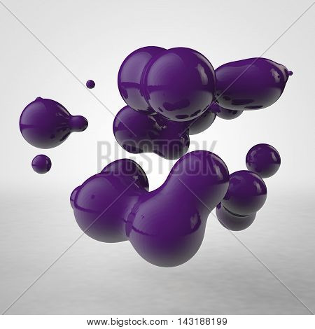 abstraction with drops in the form of metabolites modeled in 3D