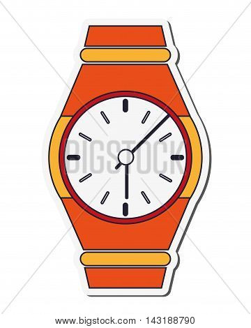 flat design analog wristwatch icon vector illustration