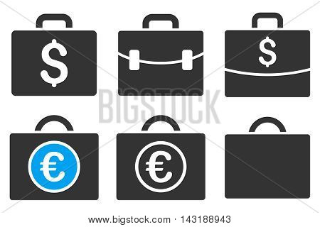 Business Case vector icons. Pictogram style is bicolor blue and gray flat icons with rounded angles on a white background.