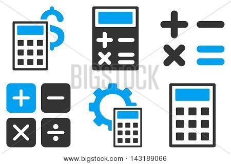 Calculator vector icons. Pictogram style is bicolor blue and gray flat icons with rounded angles on a white background.