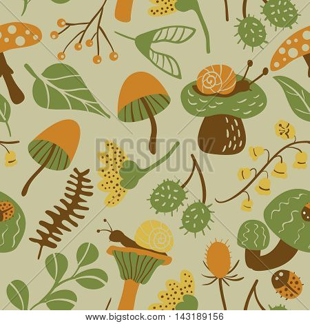 Vector flat seamless pattern with mushroom ladybird snail flower and leaf. Nature colorful background with childish characters and plants.