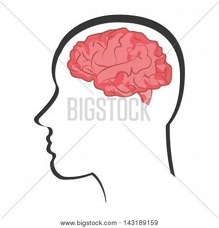 flat design human brain in head icon vector illustration