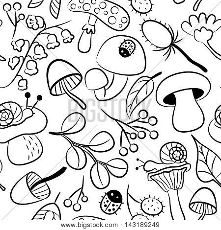 Vector doodle seamless pattern with mushroom ladybird snail flower and leaf. Nature colorful background with childish characters and plants.