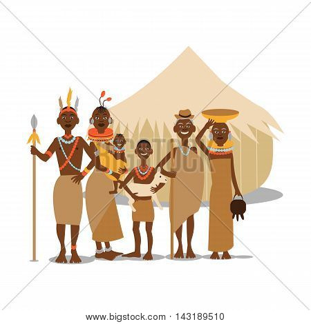 Happy african family mother, father, children and grandparents in traditional clothing. African people cartoon vector illustration.