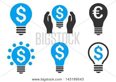 Electric Light Price vector icons. Pictogram style is bicolor blue and gray flat icons with rounded angles on a white background.
