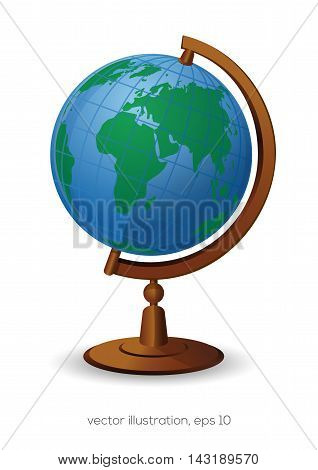 School Globe isolated on white background. School Geography Globe icon. Vector illustration