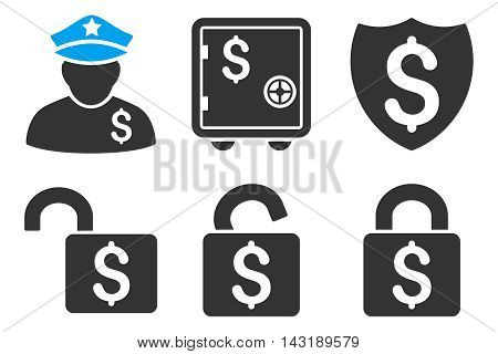 Financial Guard vector icons. Pictogram style is bicolor blue and gray flat icons with rounded angles on a white background.