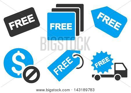 Free Tag vector icons. Pictogram style is bicolor blue and gray flat icons with rounded angles on a white background.