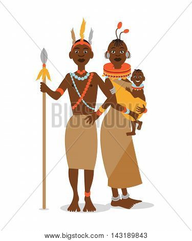 African couple with a baby in traditional ethnic clothing. Vector cartoon illustration