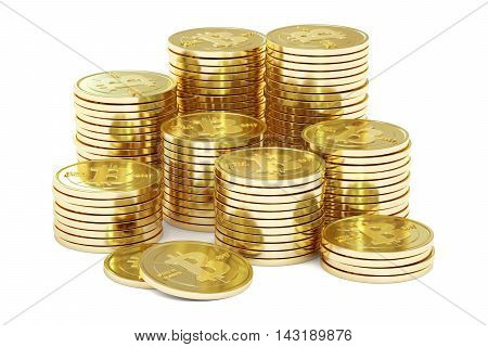 Golden Bitcoins 3D rendering isolated on white background