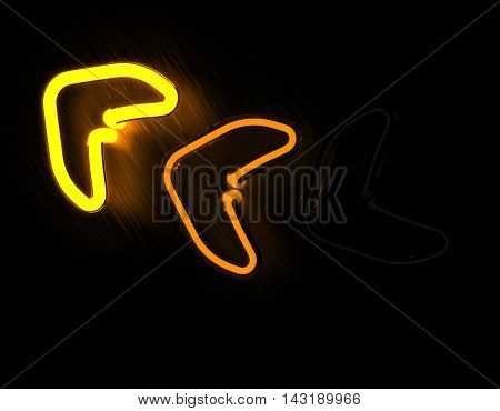 3d render arrows neon sign isolated on black background