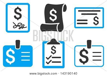 Payment Cheque vector icons. Pictogram style is bicolor blue and gray flat icons with rounded angles on a white background.