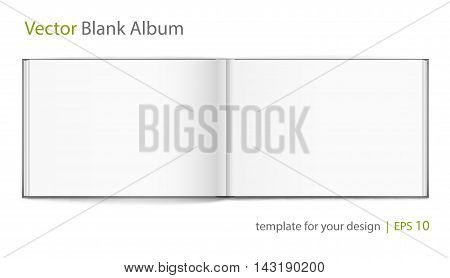 Vector blank of open hardcovered album on white background. Using mesh. Template