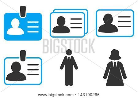 Person Account Card vector icons. Pictogram style is bicolor blue and gray flat icons with rounded angles on a white background.
