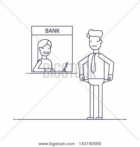 Businessman without money nothing to pay the loan , the debt to the bank. Thin line flat vector illustration