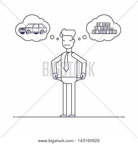 Businessman with no money, bankrupt. Man dreams of a car. The manager thinks about the financial issue. Poor man. Character in flat style.