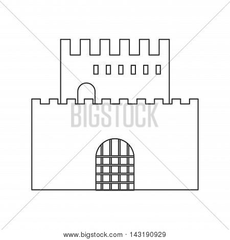 flat design simple large castle icon vector illustration