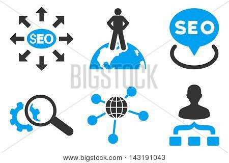 Seo Marketing vector icons. Pictogram style is bicolor blue and gray flat icons with rounded angles on a white background.