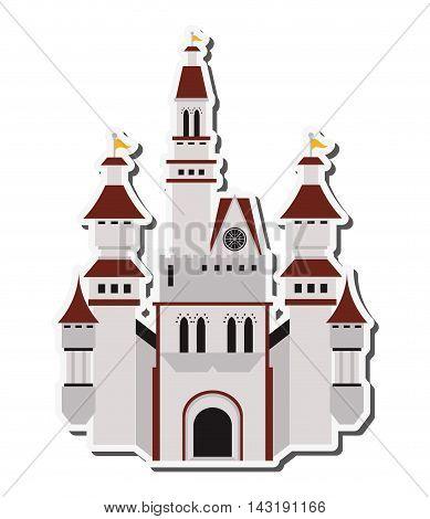 flat design large castle icon vector illustration