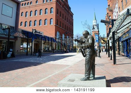 BURLINGTON, VT, USA - APRIL 6: Church Street Marketplace on April 6th, 2013 in the historic district of Burlington, Vermont, USA.