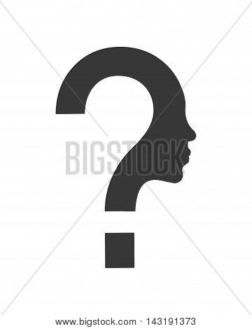 flat design question mark and face profile silhouette icon vector illustration