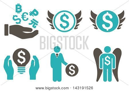 Angel Investor vector icons. Pictogram style is bicolor grey and cyan flat icons with rounded angles on a white background.