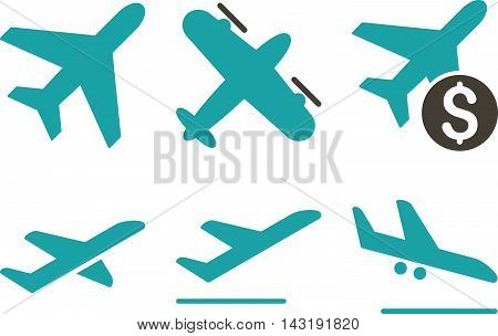 Aviation vector icons. Pictogram style is bicolor grey and cyan flat icons with rounded angles on a white background.