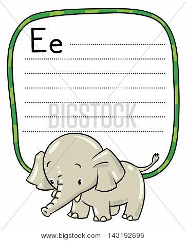 Little Funny Elephant Or Jumbo. Alphabet E