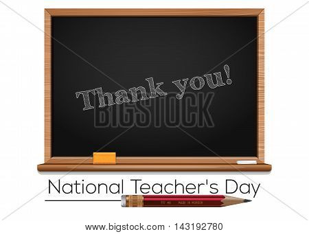 National Teacher's Day. Teacher Day - national holiday held annually in USA since 1984 on Tuesday of 1st full week of May. Chalk text on blackboard - Thank you. Vector illustration