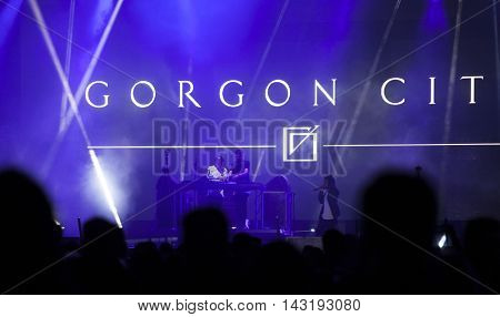 Bontida, Romania - July 18, 2016: Gorgon city performing a live concert in the front of a cheering crowd at Electric Castle festival
