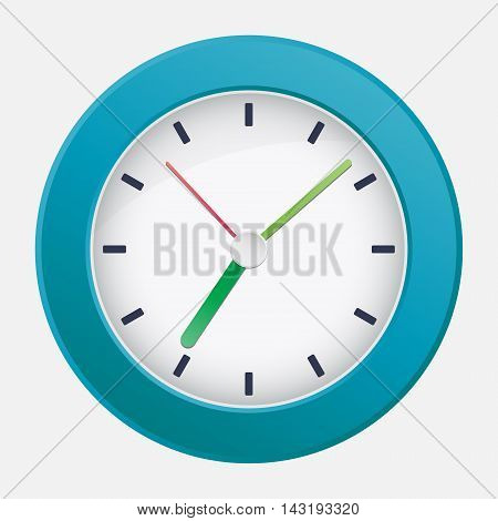 Vector mechanical classic wall clock on white background