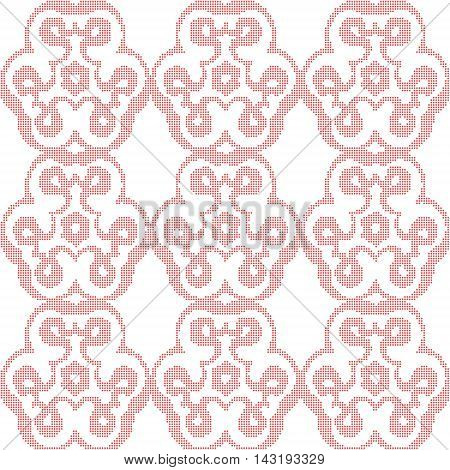 Abstract dots floral red background. Mosaic for textile, paper or ceramics. Vector regular texture