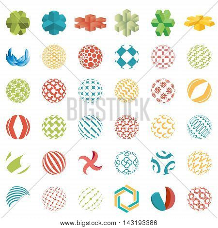 Collection of universal spherical logos, business abstract icons