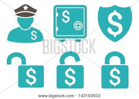 Financial Guard vector icons. Pictogram style is bicolor grey and cyan flat icons with rounded angles on a white background.