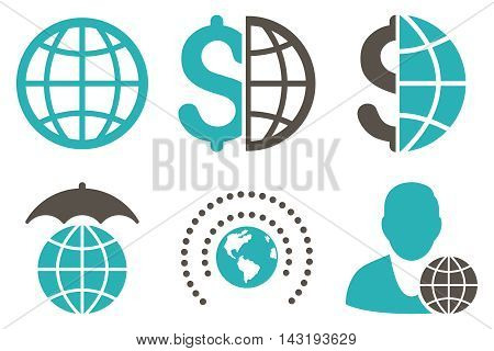 Global Business vector icons. Pictogram style is bicolor grey and cyan flat icons with rounded angles on a white background.
